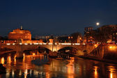 Night landscape with Castel Sant'Angelo in Rome - Italy — Stock Photo
