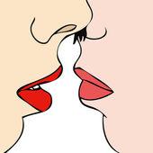 Desire between two women — Stock Vector
