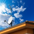 Satellite Dish and Antenna TV on Blue Sky — Stock Photo #52475747