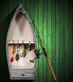Fishing Tackle - Small Boat — Stock Photo