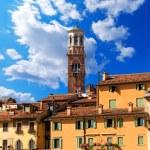 Houses and Lamberti Tower - Verona Italy — Stock Photo #53657339