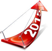 2015 Red Positive Arrow — Stock Photo