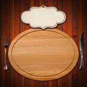 Cutting Board with Cutlery and Label — Stock Photo