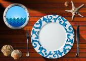 Table Arrangement for Seafood Menu — Stock Photo