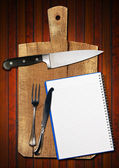 Empty Notebook on Old Cutting Board — Foto de Stock