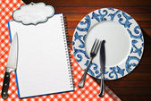 Notebook Plate and Cutlery — Stock Photo