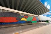 Joan Miro - Large Ceramic Mural - Barcelona — Stock Photo