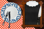 Empty Blackboard Plate and Cutlery — Stock Photo