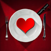Healthy Food - Red Heart on the Plate — Stock Photo