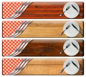 Set of Kitchen Banners with Plates — Stock Photo