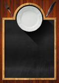 Blackboard with Plate and Cutlery — Stock Photo