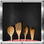 Empty Blackboard with Kitchen Utensils — Stock Photo