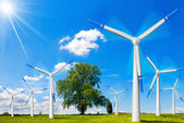 Electric Wind Generators in Countryside — Stock Photo