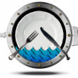 Seafood - Metal Icon — Stock Photo #60942389