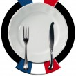 French Cuisine - Plate and Cutlery — Stock Photo #61332101