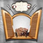 Seafood Menu on Wooden Window — Stock Photo #62142137
