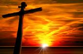 Cross Silhouette at the Sunset — Stock Photo
