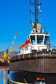 Tugboat and Containers Ship — Stock Photo