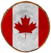 Canadian Flag on Section of Tree Trunk — Stockfoto