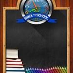 Blackboard with Back to School Clock — Stock Photo #65770633