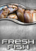 Steel Background with Fresh Fish — Stock Photo
