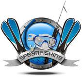 Spearfishing - Metal Icon — Stock Photo