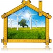 Ecologic House - Wind Energy Concept — Stock Photo #67302491