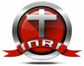 INRI - Red and Metal Icon with Cross — Stockfoto