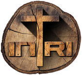 INRI - Wooden Cross on Tree Trunk — Stock Photo