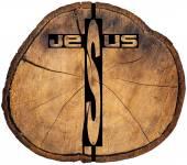 Jesus wooden Cross on Tree Trunk — Stockfoto