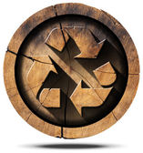 Recycle Symbol on Tree Trunk — Stock Photo