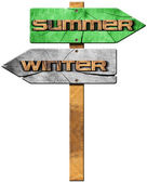 Winter and Summer - Wooden Sign — Stock Photo