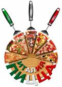 Italy Pizza on cutting board in Russian Language — Stock Photo