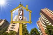 House For Rent Sign - Wooden Meter — Stock Photo