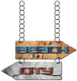 Pláž a City - směrové značky — Stock fotografie