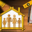 House Project - Wooden Meter with Family — Stockfoto #71488085