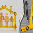 House Project - Wooden Meter with Family — Stockfoto #71580201