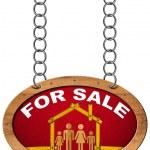 出售标志-木制米与家人的房子 — 图库照片 #71756805