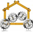 House with Gears - Wooden Meter — Stock Photo #72160985