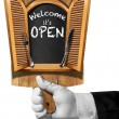 ������, ������: Welcome it is Open Sign with Hand of Waiter