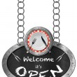 Welcome it is Open - Sign with Plate and Cutlery — Stock Photo #73204165