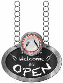 Welcome it is Open - Sign with Plate and Cutlery — Stock Photo