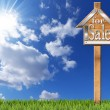House For Sale - Wooden Sign with Pole — Stock Photo #73274195
