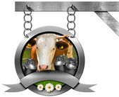 Dairy Products - Metal Sign with Chain — Stock Photo