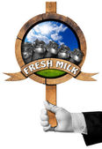 Fresh Milk -  Sign with Hand of Waiter — Stock Photo