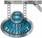 Bed and Breakfast - Sign with Chain — Stock Photo