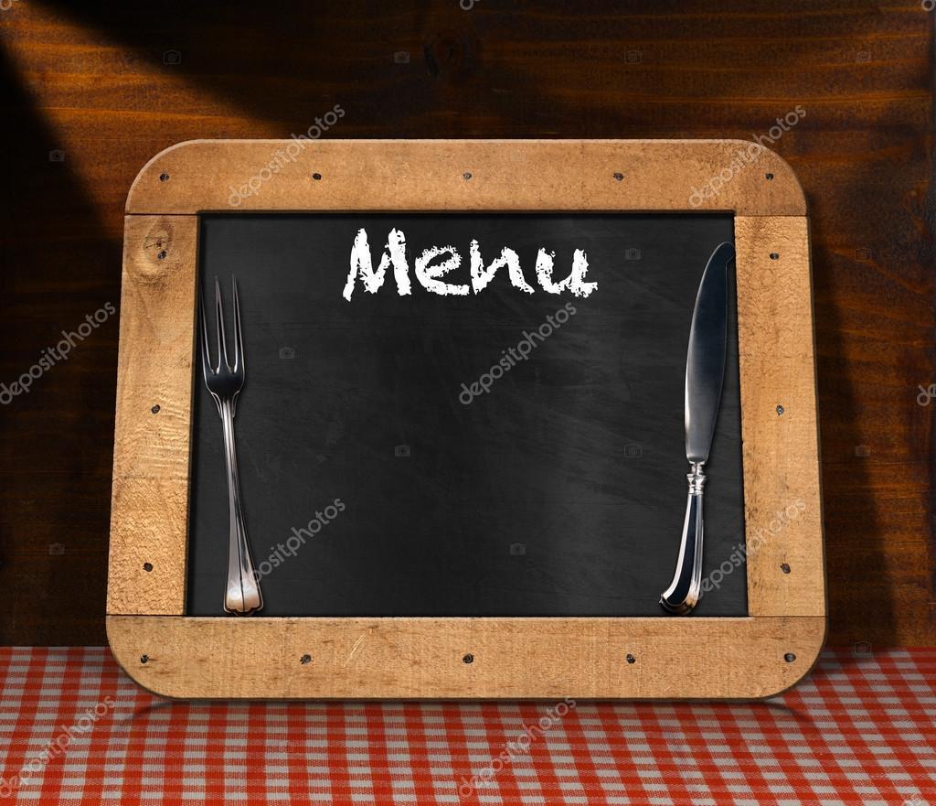 Menu della lavagna sul tavolo — foto stock © catalby #88996066