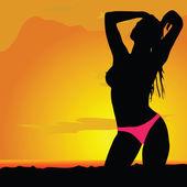 Girl silhouette in desert with bikini — Stock Vector