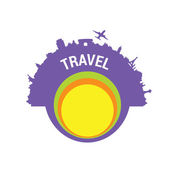 Travel color vector silhouette — Stock Vector
