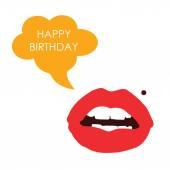Lips happy birthday color vector — Stock Vector